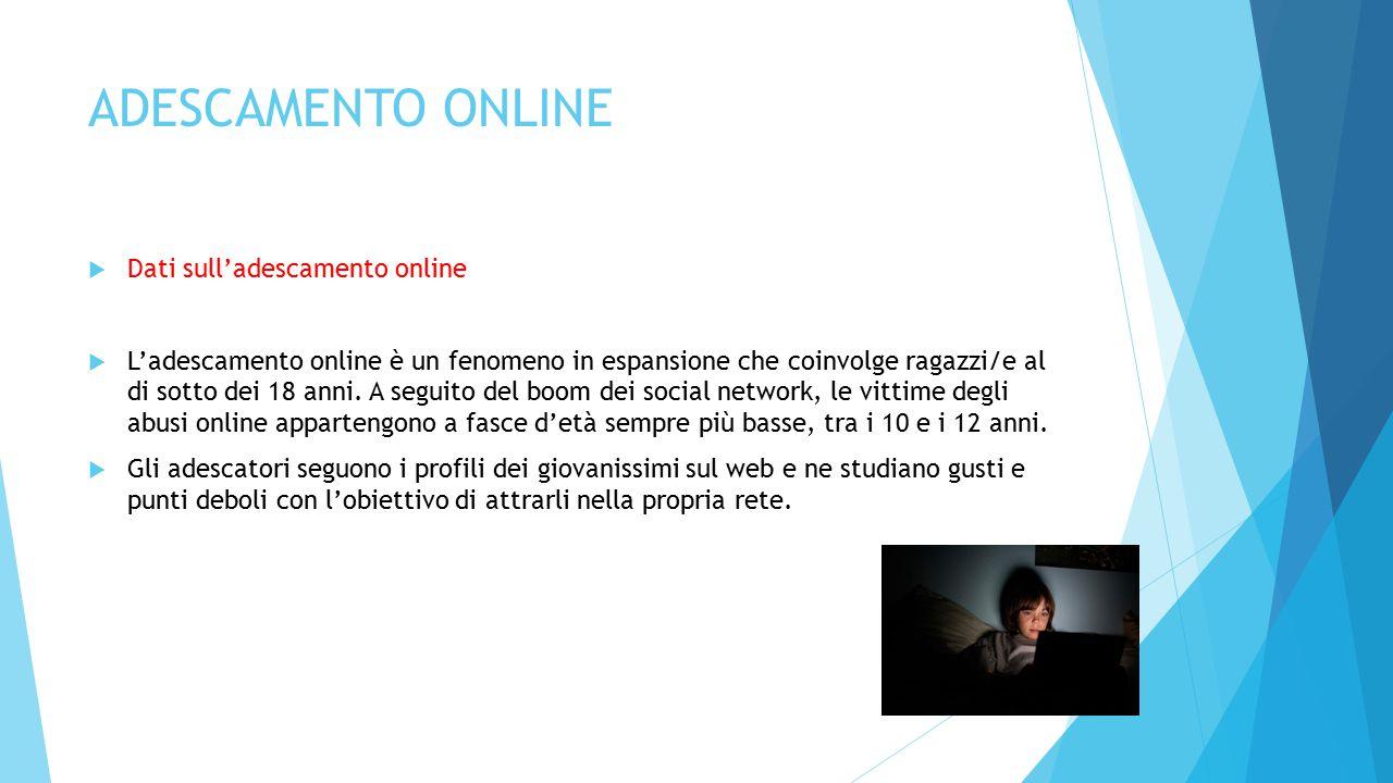 ADESCAMENTO ONLINE  Dati sull'adescamento online  L'adescamento online è un fenomeno in espansione che coinvolge ragazzi/e al di sotto dei 18 anni.