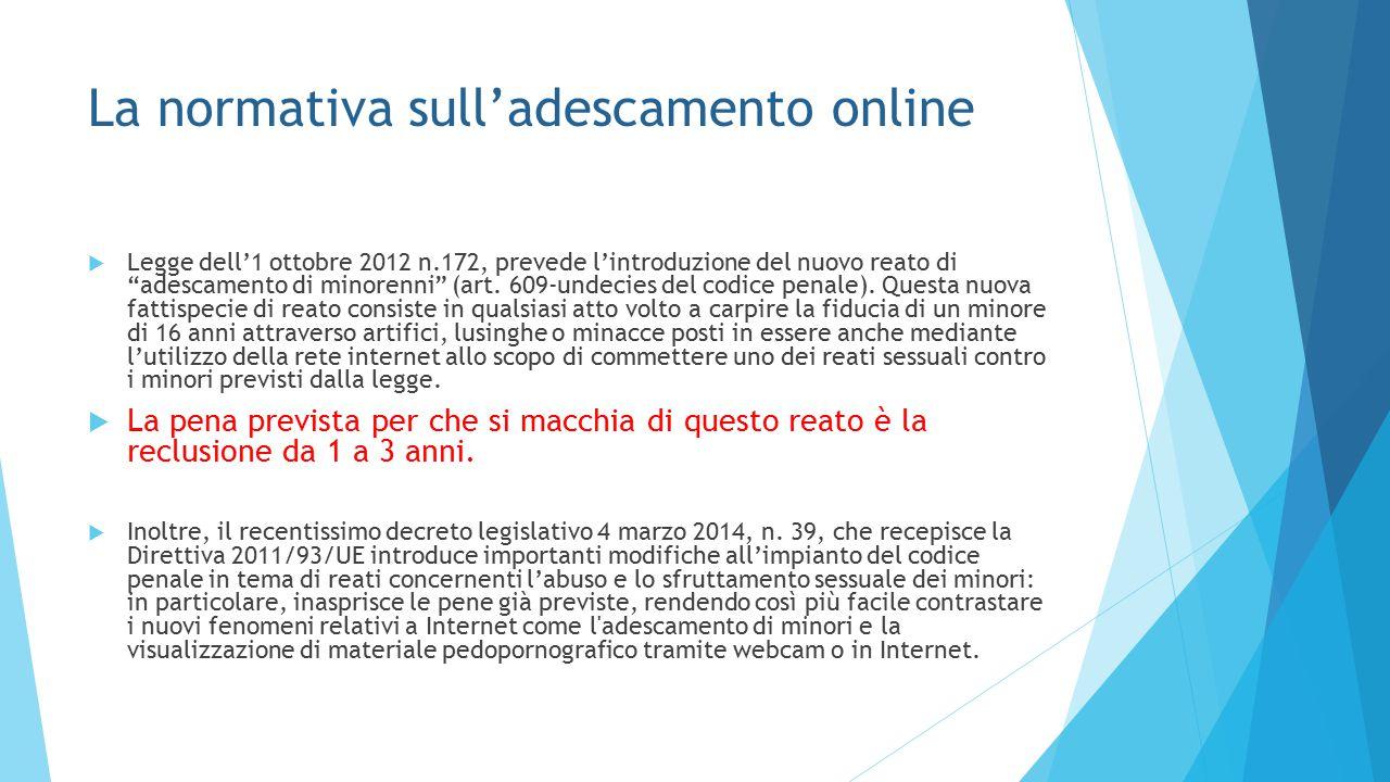 """La normativa sull'adescamento online  Legge dell'1 ottobre 2012 n.172, prevede l'introduzione del nuovo reato di """"adescamento di minorenni"""" (art. 609"""