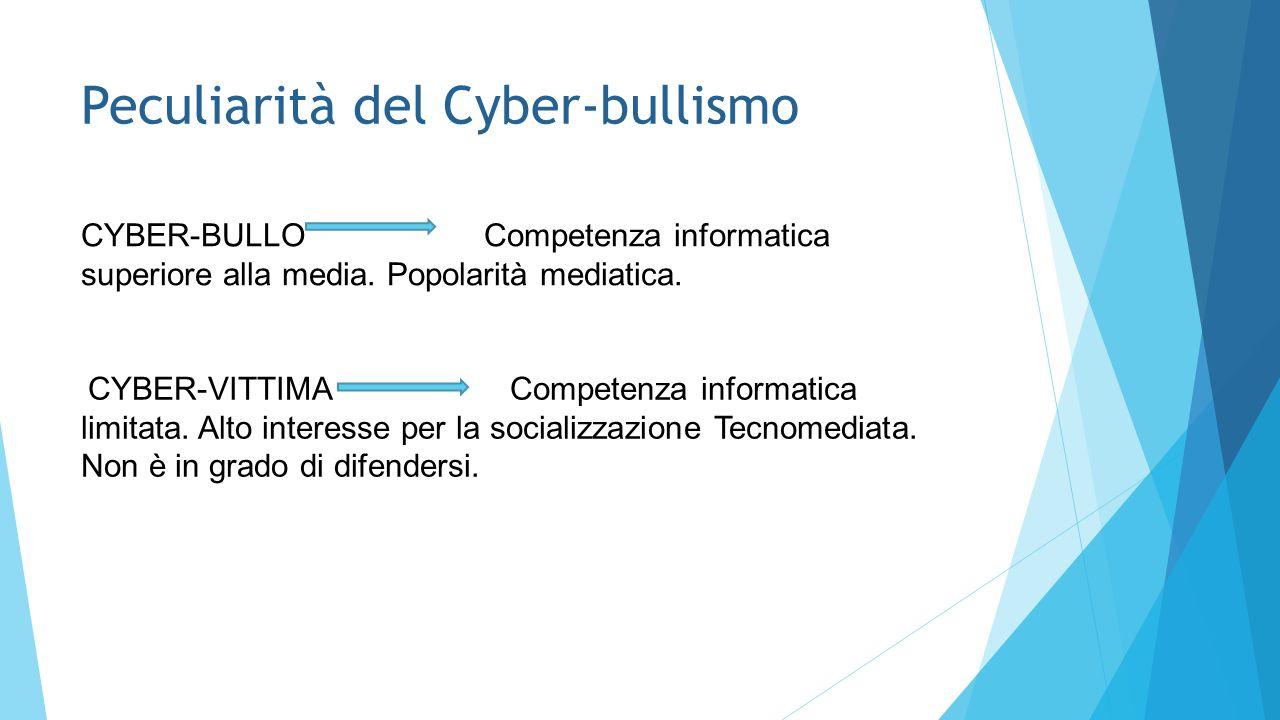 Peculiarità del Cyber-bullismo CYBER-BULLO Competenza informatica superiore alla media. Popolarità mediatica. CYBER-VITTIMA Competenza informatica lim