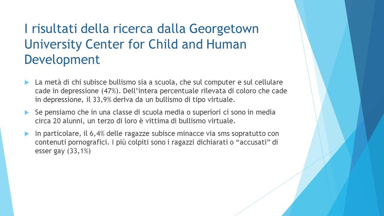 I risultati della ricerca dalla Georgetown University Center for Child and Human Development  La metà di chi subisce bullismo sia a scuola, che sul c