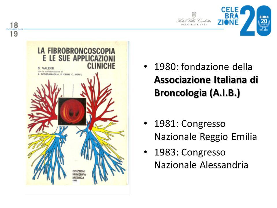 Associazione Italiana di Broncologia (A.I.B.) 1980: fondazione della Associazione Italiana di Broncologia (A.I.B.) 1981: Congresso Nazionale Reggio Em