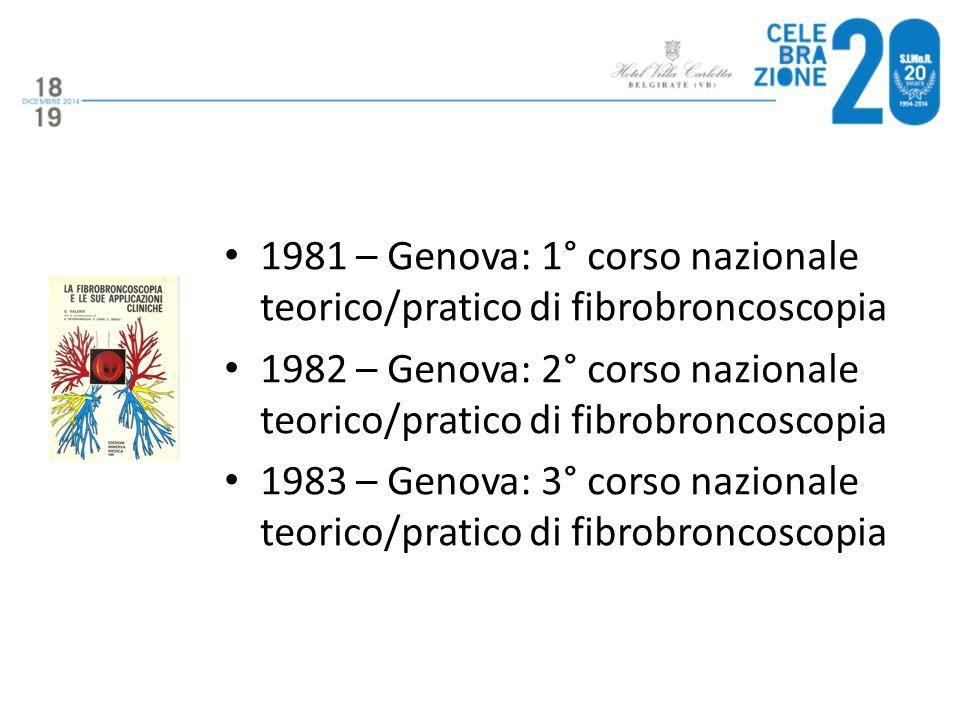 1981 – Genova: 1° corso nazionale teorico/pratico di fibrobroncoscopia 1982 – Genova: 2° corso nazionale teorico/pratico di fibrobroncoscopia 1983 – G