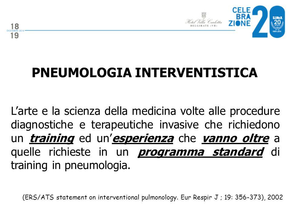 PNEUMOLOGIA INTERVENTISTICA L'arte e la scienza della medicina volte alle procedure diagnostiche e terapeutiche invasive che richiedono un training ed