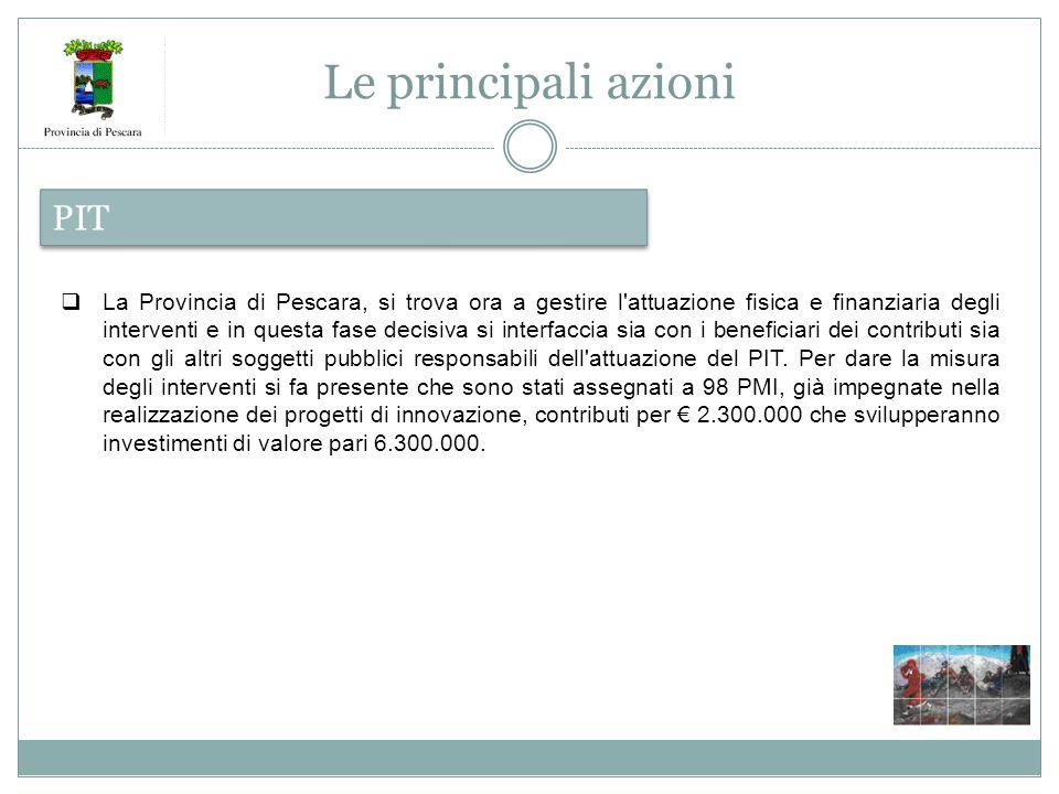 Le principali azioni PIT  La Provincia di Pescara, si trova ora a gestire l attuazione fisica e finanziaria degli interventi e in questa fase decisiva si interfaccia sia con i beneficiari dei contributi sia con gli altri soggetti pubblici responsabili dell attuazione del PIT.