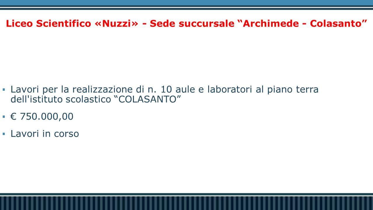 """Liceo Scientifico «Nuzzi» - Sede succursale """"Archimede - Colasanto""""  Lavori per la realizzazione di n. 10 aule e laboratori al piano terra dell'istit"""
