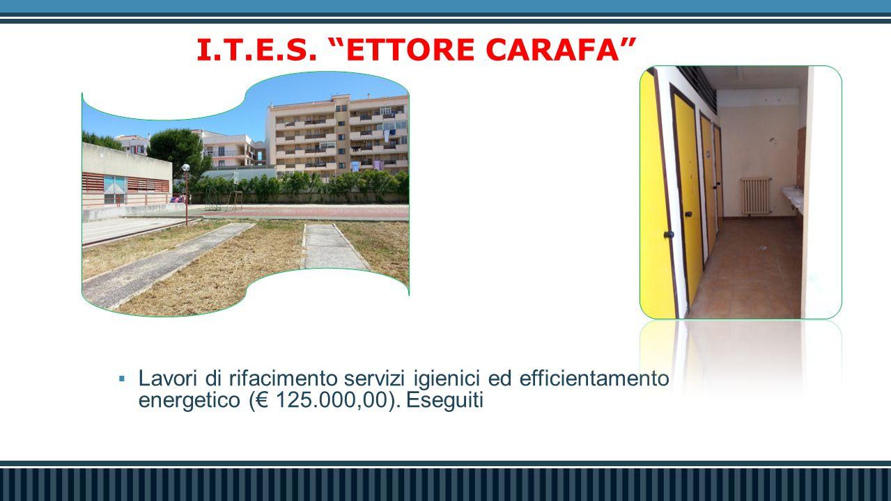 """ Lavori di rifacimento servizi igienici ed efficientamento energetico (€ 125.000,00). Eseguiti I.T.E.S. """"ETTORE CARAFA"""" 0,00"""