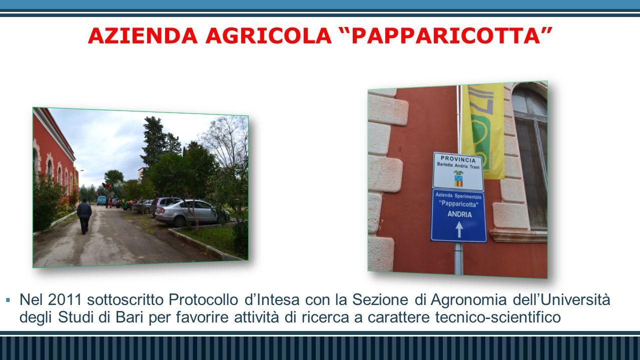 """AZIENDA AGRICOLA """"PAPPARICOTTA""""  Nel 2011 sottoscritto Protocollo d'Intesa con la Sezione di Agronomia dell'Università degli Studi di Bari per favori"""