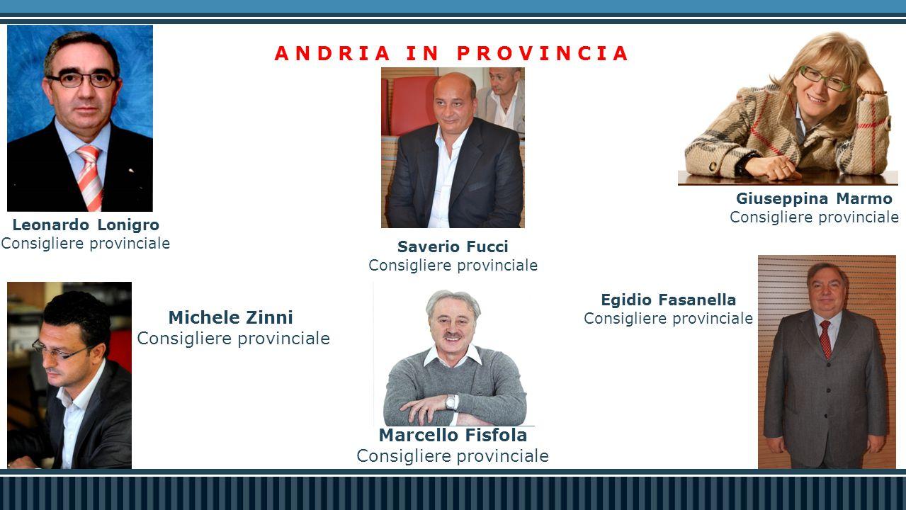 Leonardo Lonigro Consigliere provinciale Egidio Fasanella Consigliere provinciale Saverio Fucci Consigliere provinciale ANDRIA IN PROVINCIA Michele Zi