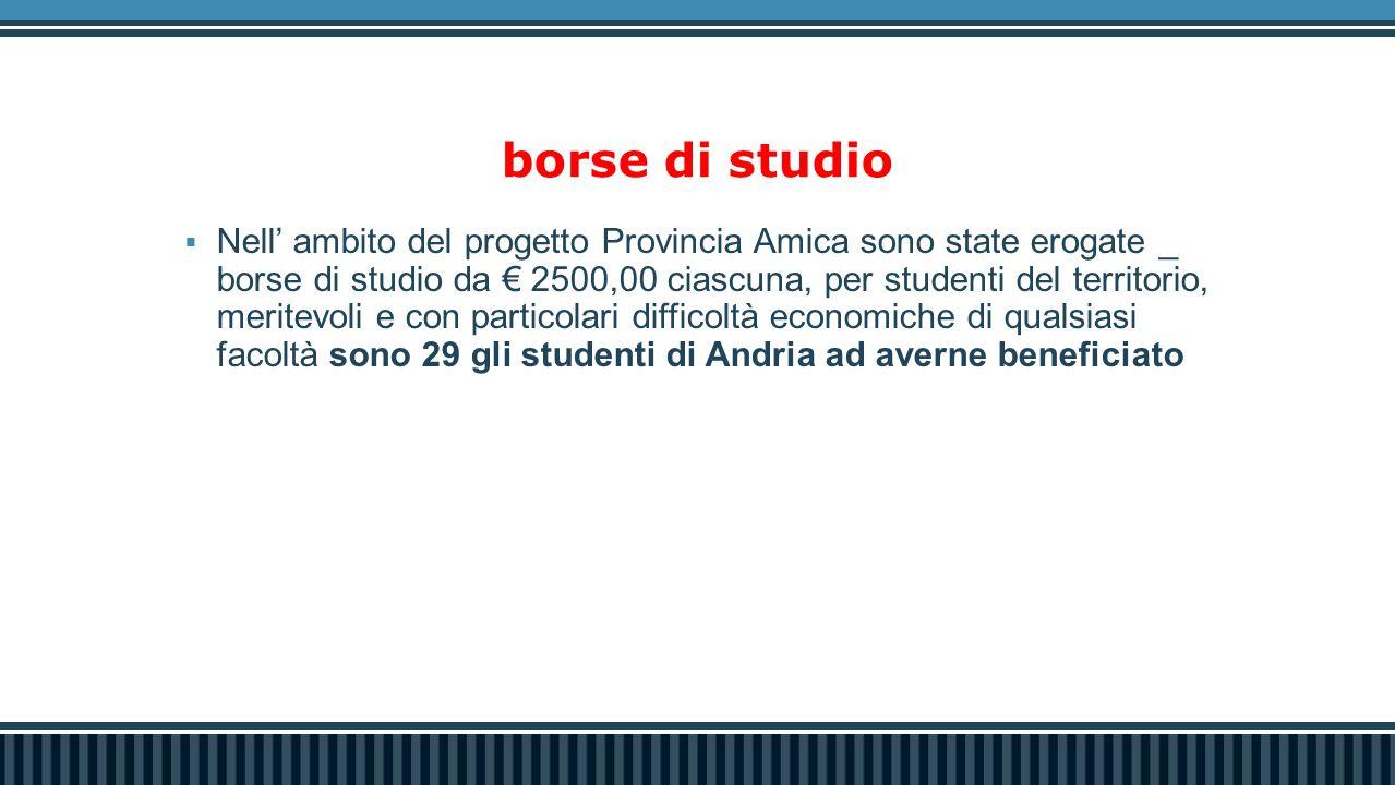 borse di studio  Nell' ambito del progetto Provincia Amica sono state erogate _ borse di studio da € 2500,00 ciascuna, per studenti del territorio, m