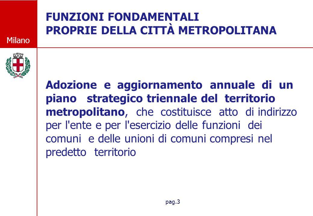 Milano pag.3 FUNZIONI FONDAMENTALI PROPRIE DELLA CITT À METROPOLITANA Adozione e aggiornamento annuale di un piano strategico triennale del territorio