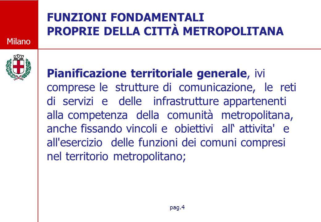 Milano pag.4 FUNZIONI FONDAMENTALI PROPRIE DELLA CITT À METROPOLITANA Pianificazione territoriale generale, ivi comprese le strutture di comunicazione