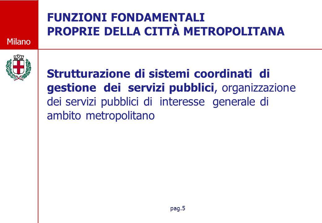 Milano pag.5 FUNZIONI FONDAMENTALI PROPRIE DELLA CITT À METROPOLITANA Strutturazione di sistemi coordinati di gestione dei servizi pubblici, organizza