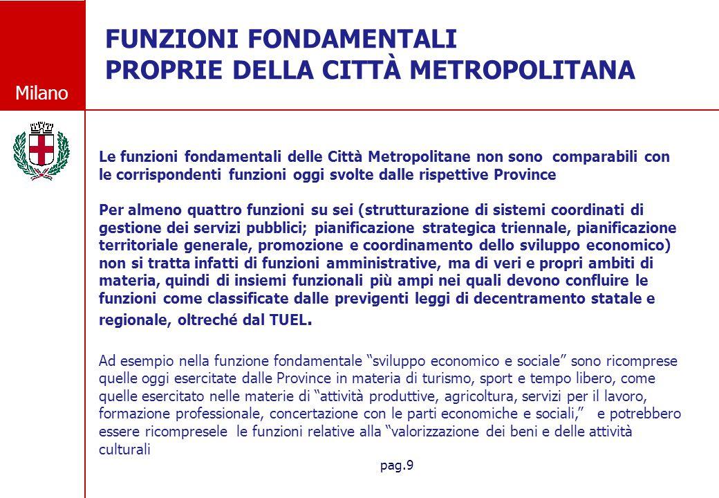 Milano pag.9 FUNZIONI FONDAMENTALI PROPRIE DELLA CITT À METROPOLITANA Le funzioni fondamentali delle Città Metropolitane non sono comparabili con le c