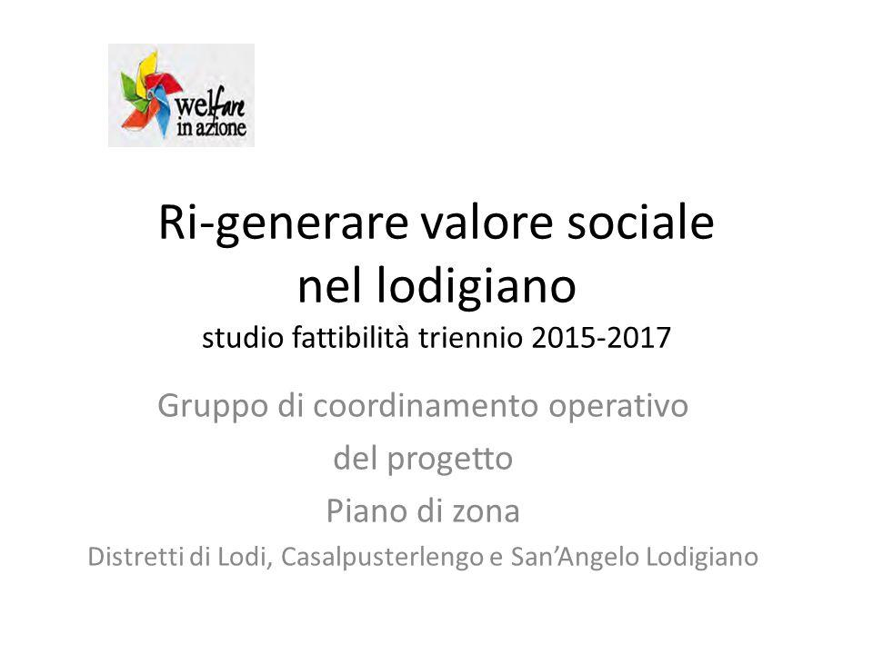 Ri-generare valore sociale nel lodigiano studio fattibilità triennio 2015-2017 Gruppo di coordinamento operativo del progetto Piano di zona Distretti di Lodi, Casalpusterlengo e San'Angelo Lodigiano