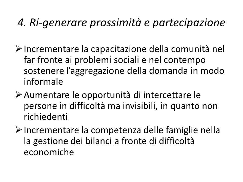 4. Ri-generare prossimità e partecipazione  Incrementare la capacitazione della comunità nel far fronte ai problemi sociali e nel contempo sostenere