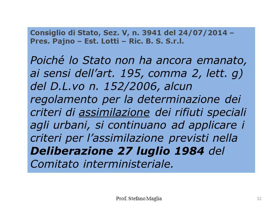 Prof.Stefano Maglia 12 Consiglio di Stato, Sez. V, n.
