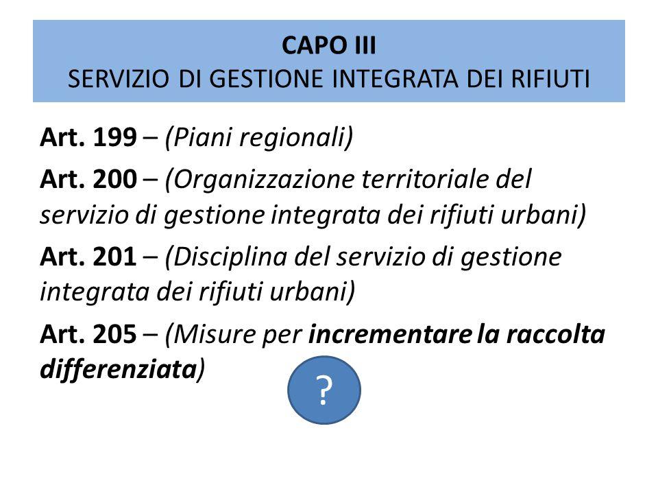 CAPO III SERVIZIO DI GESTIONE INTEGRATA DEI RIFIUTI Art. 199 – (Piani regionali) Art. 200 – (Organizzazione territoriale del servizio di gestione inte