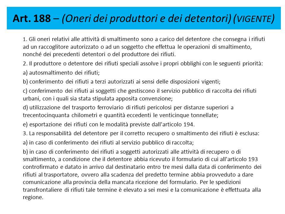 Art. 188 – (Oneri dei produttori e dei detentori) ( VIGENTE ) 1. Gli oneri relativi alle attività di smaltimento sono a carico del detentore che conse