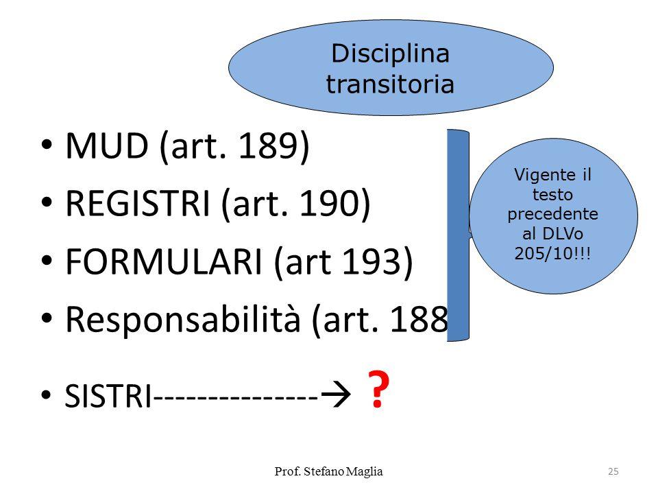 MUD (art. 189) REGISTRI (art. 190) FORMULARI (art 193) Responsabilità (art. 188) SISTRI---------------  ? Prof. Stefano Maglia 25 Vigente il testo pr