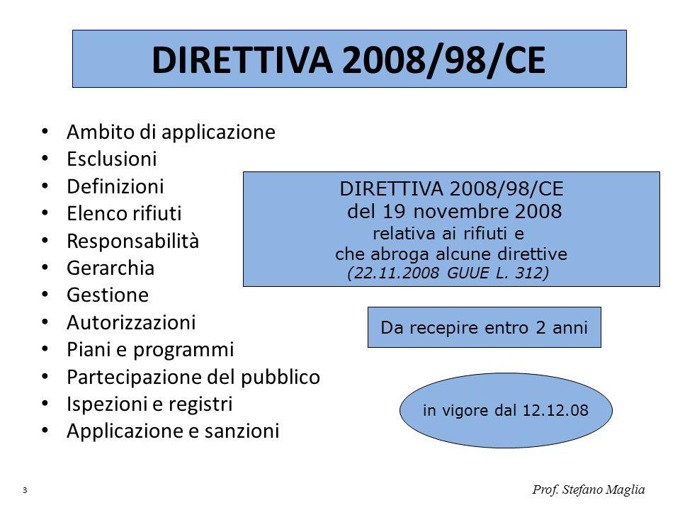 Prof. Stefano Maglia 3 DIRETTIVA 2008/98/CE Ambito di applicazione Esclusioni Definizioni Elenco rifiuti Responsabilità Gerarchia Gestione Autorizzazi