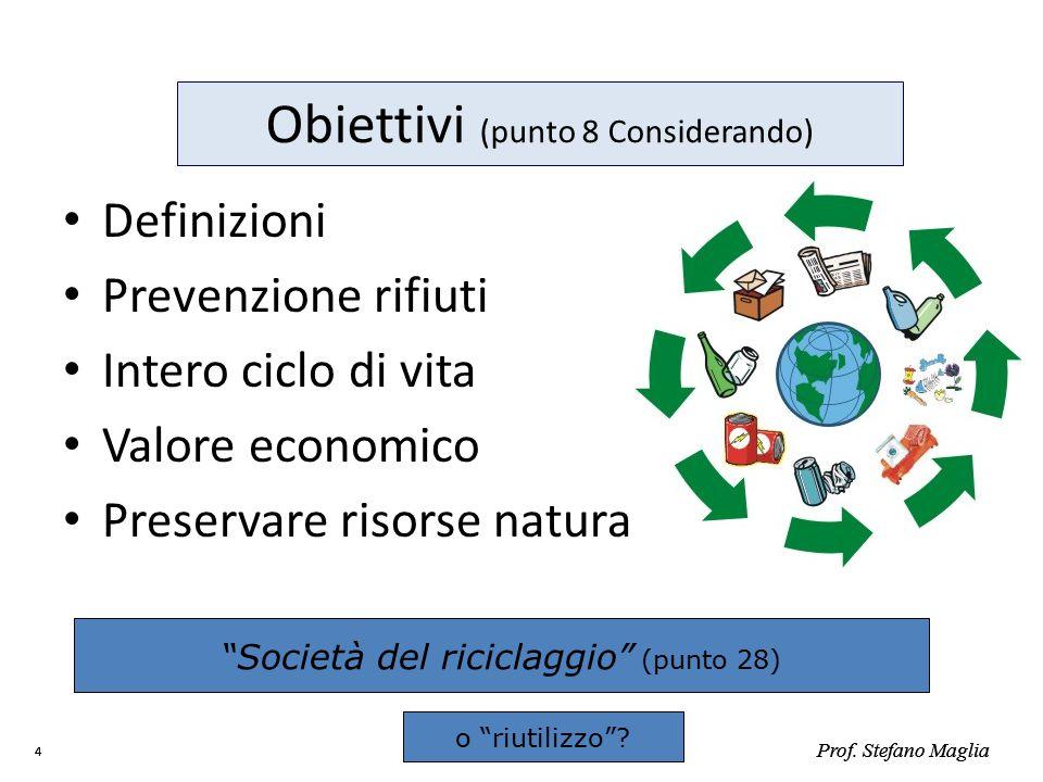 Prof. Stefano Maglia 4 4 Obiettivi (punto 8 Considerando) Definizioni Prevenzione rifiuti Intero ciclo di vita Valore economico Preservare risorse nat