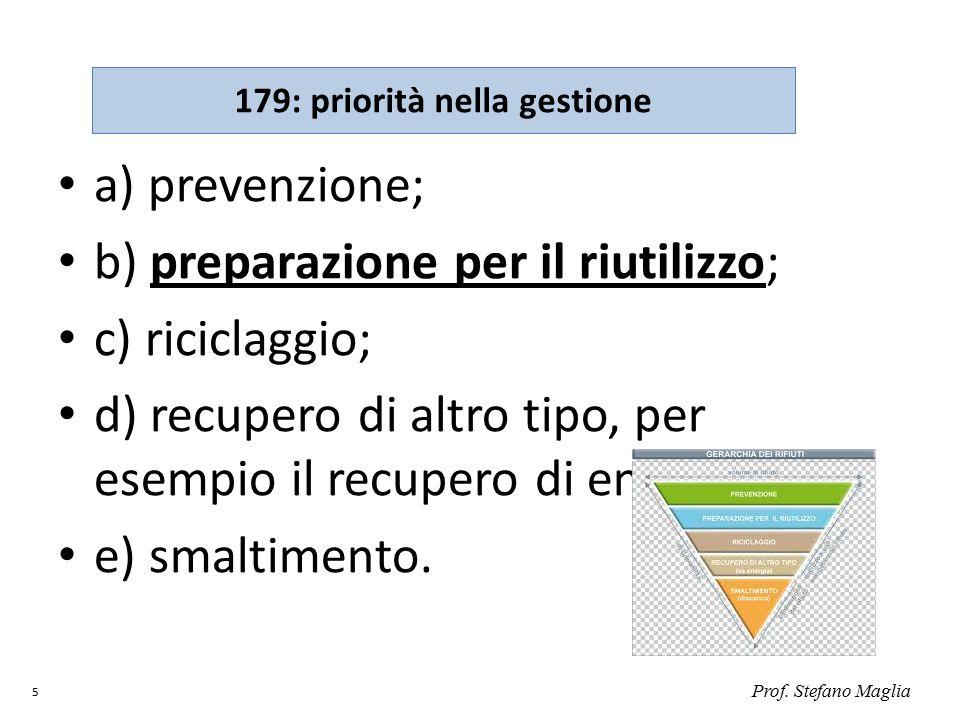 a) prevenzione; b) preparazione per il riutilizzo; c) riciclaggio; d) recupero di altro tipo, per esempio il recupero di energia; e) smaltimento. Prof