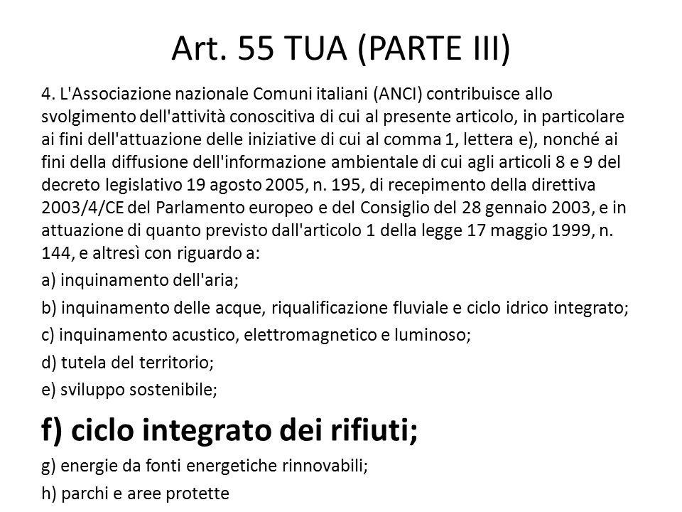 Art. 55 TUA (PARTE III) 4. L'Associazione nazionale Comuni italiani (ANCI) contribuisce allo svolgimento dell'attività conoscitiva di cui al presente