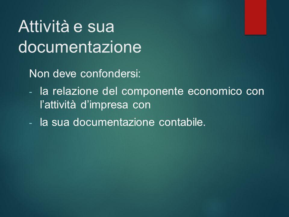 Attività e sua documentazione Non deve confondersi: - la relazione del componente economico con l'attività d'impresa con - la sua documentazione conta
