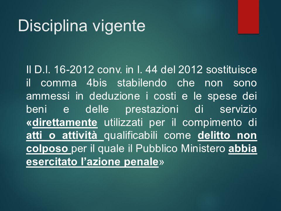 Disciplina vigente Il D.l. 16-2012 conv. in l. 44 del 2012 sostituisce il comma 4bis stabilendo che non sono ammessi in deduzione i costi e le spese d