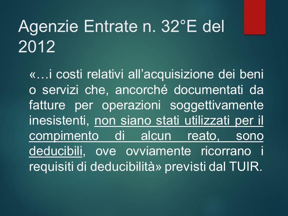 Agenzie Entrate n. 32°E del 2012 «…i costi relativi all'acquisizione dei beni o servizi che, ancorché documentati da fatture per operazioni soggettiva