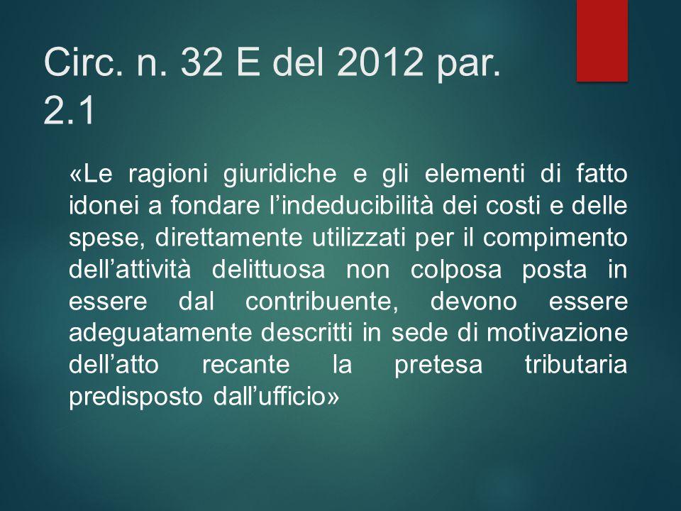 Circ. n. 32 E del 2012 par. 2.1 «Le ragioni giuridiche e gli elementi di fatto idonei a fondare l'indeducibilità dei costi e delle spese, direttamente