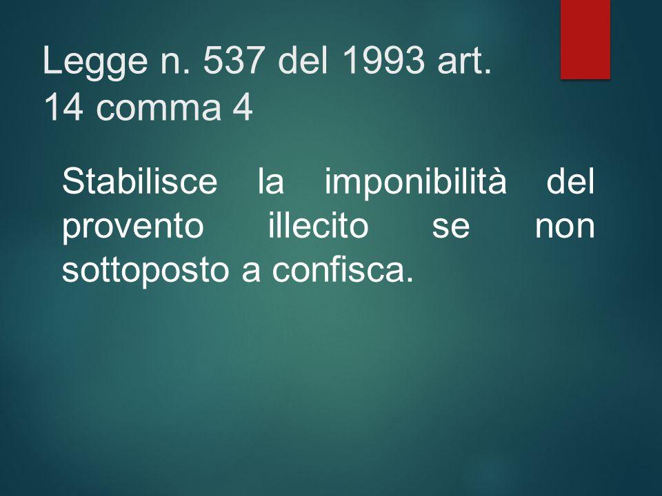 Legge n. 537 del 1993 art. 14 comma 4 Stabilisce la imponibilità del provento illecito se non sottoposto a confisca.