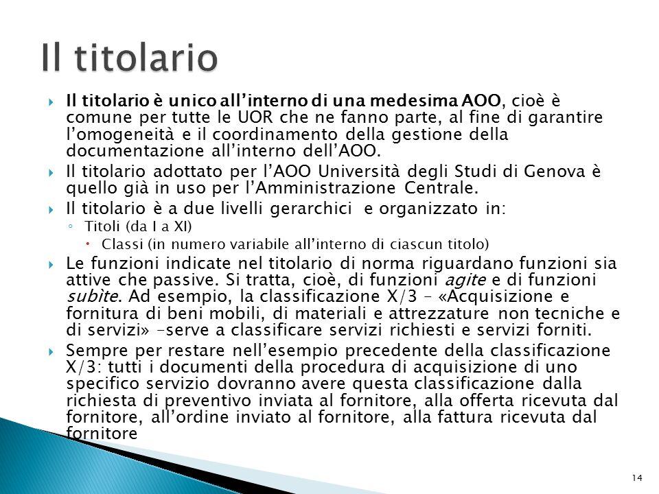  Il titolario è unico all'interno di una medesima AOO, cioè è comune per tutte le UOR che ne fanno parte, al fine di garantire l'omogeneità e il coordinamento della gestione della documentazione all'interno dell'AOO.