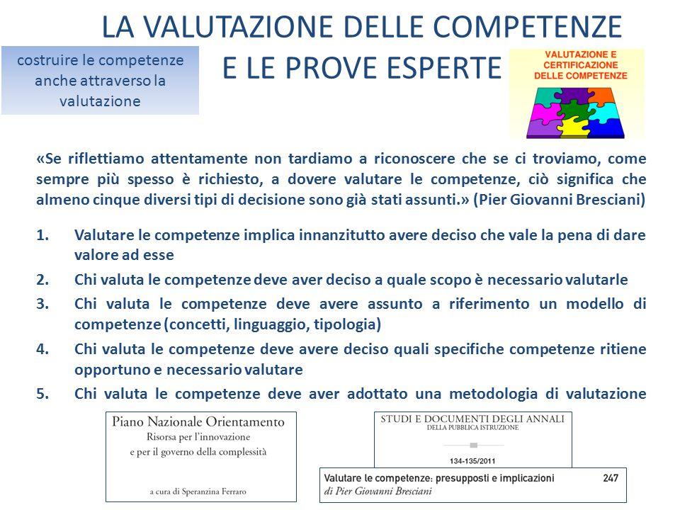 LA VALUTAZIONE DELLE COMPETENZE E LE PROVE ESPERTE costruire le competenze anche attraverso la valutazione «Se riflettiamo attentamente non tardiamo a