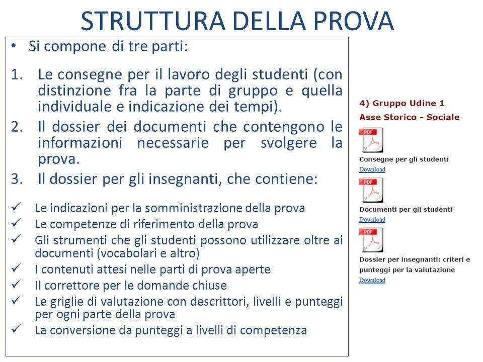 STRUTTURA DELLA PROVA Si compone di tre parti: 1.Le consegne per il lavoro degli studenti (con distinzione fra la parte di gruppo e quella individuale