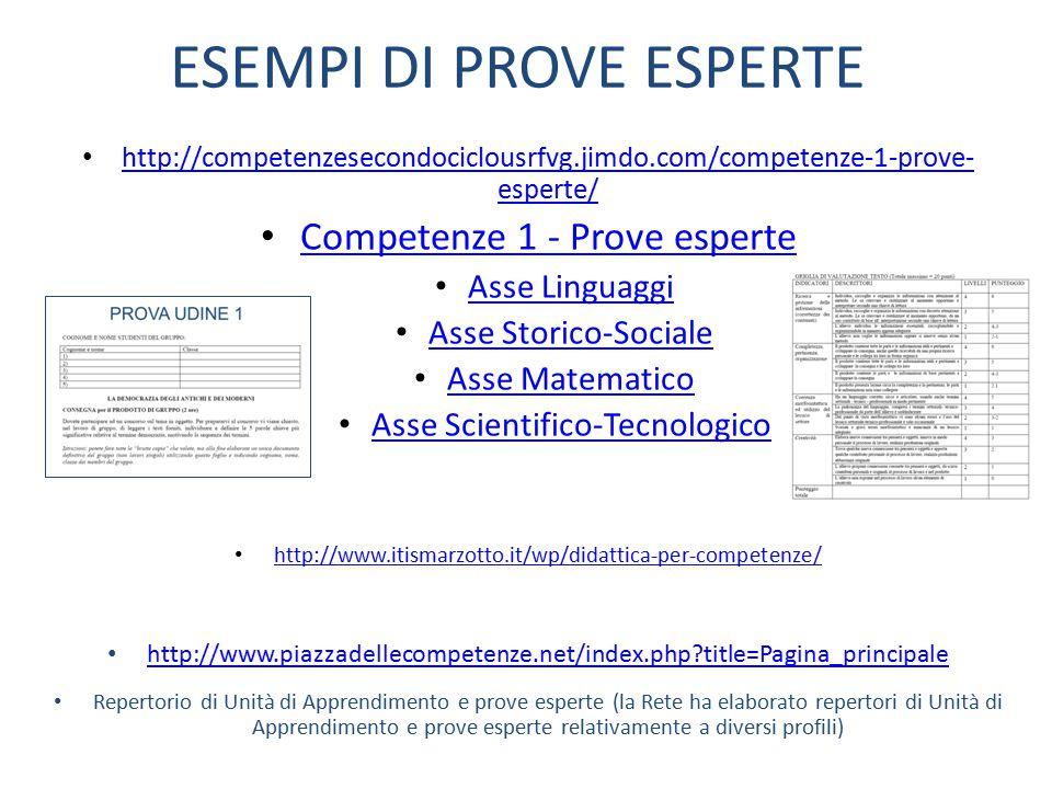 ESEMPI DI PROVE ESPERTE http://competenzesecondociclousrfvg.jimdo.com/competenze-1-prove- esperte/ http://competenzesecondociclousrfvg.jimdo.com/compe