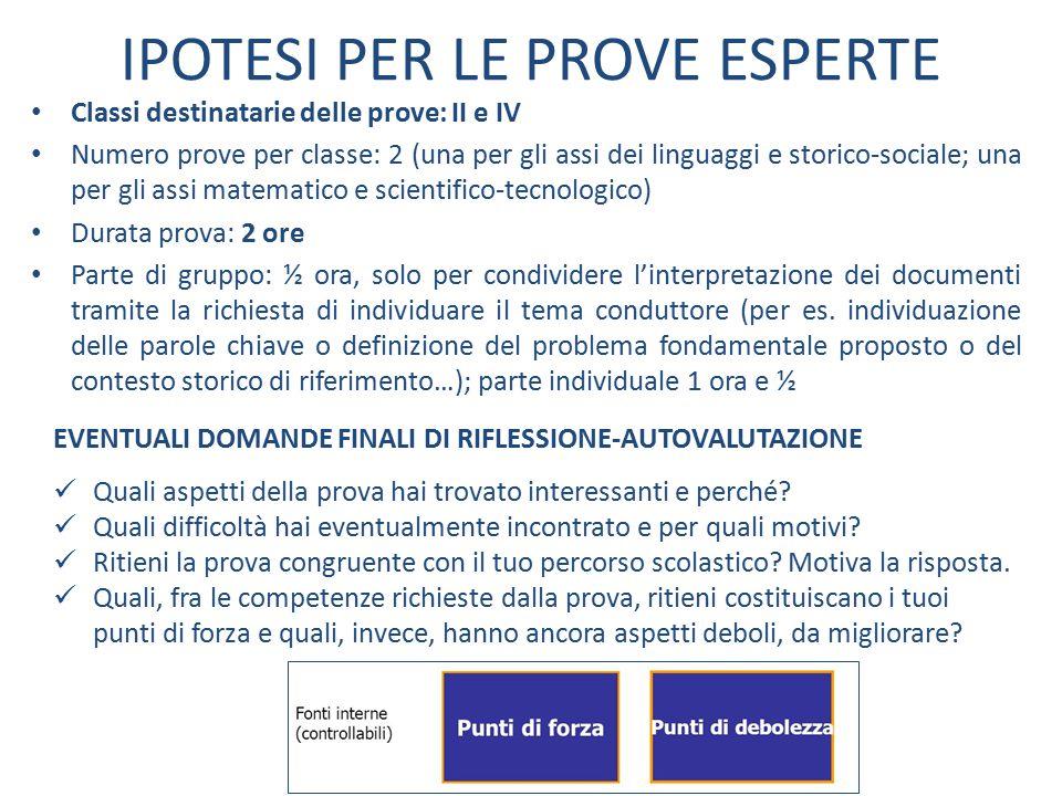 IPOTESI PER LE PROVE ESPERTE Classi destinatarie delle prove: II e IV Numero prove per classe: 2 (una per gli assi dei linguaggi e storico-sociale; un