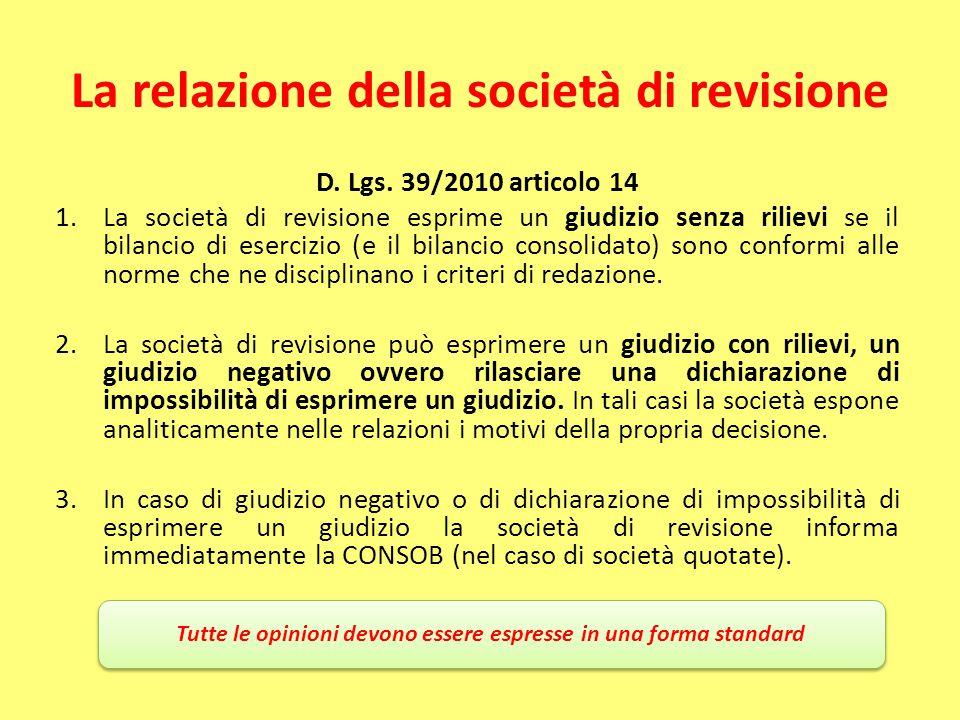 La relazione della società di revisione D. Lgs. 39/2010 articolo 14 1.La società di revisione esprime un giudizio senza rilievi se il bilancio di eser
