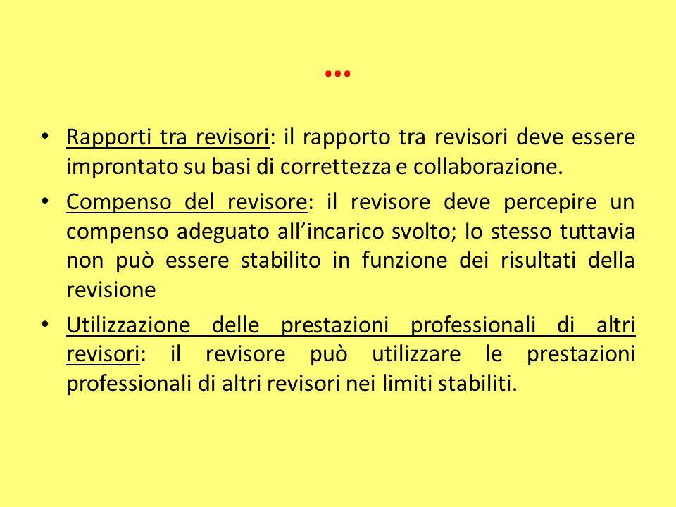 … Rapporti tra revisori: il rapporto tra revisori deve essere improntato su basi di correttezza e collaborazione. Compenso del revisore: il revisore d