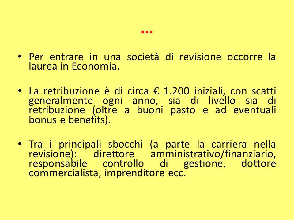 … Per entrare in una società di revisione occorre la laurea in Economia. La retribuzione è di circa € 1.200 iniziali, con scatti generalmente ogni ann