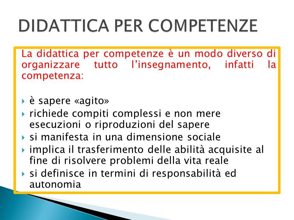 La didattica per competenze è un modo diverso di organizzare tutto l'insegnamento, infatti la competenza:  è sapere «agito»  richiede compiti comple