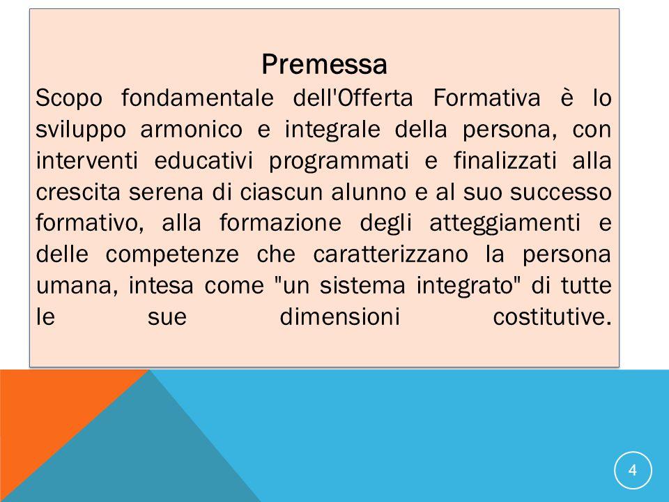 Premessa Scopo fondamentale dell'Offerta Formativa è lo sviluppo armonico e integrale della persona, con interventi educativi programmati e finalizzat