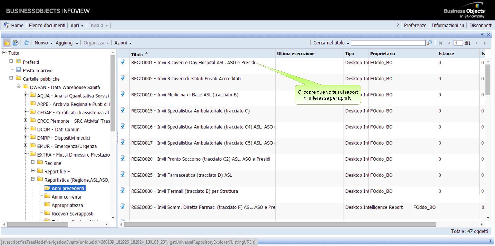 Ciascuna pagina visualizza un elenco di 10 report. Possono essere presenti più pagine. Cliccare sulle frecce di scorrimento, per visualizzare le pagin
