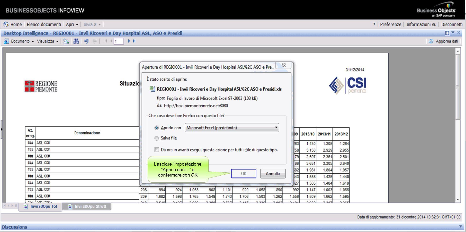 E' possibile esportare il report in diversi formati. Scegliere ad esempio Excel Excel Posizionarsi sul comando ''Salva nel computer come''