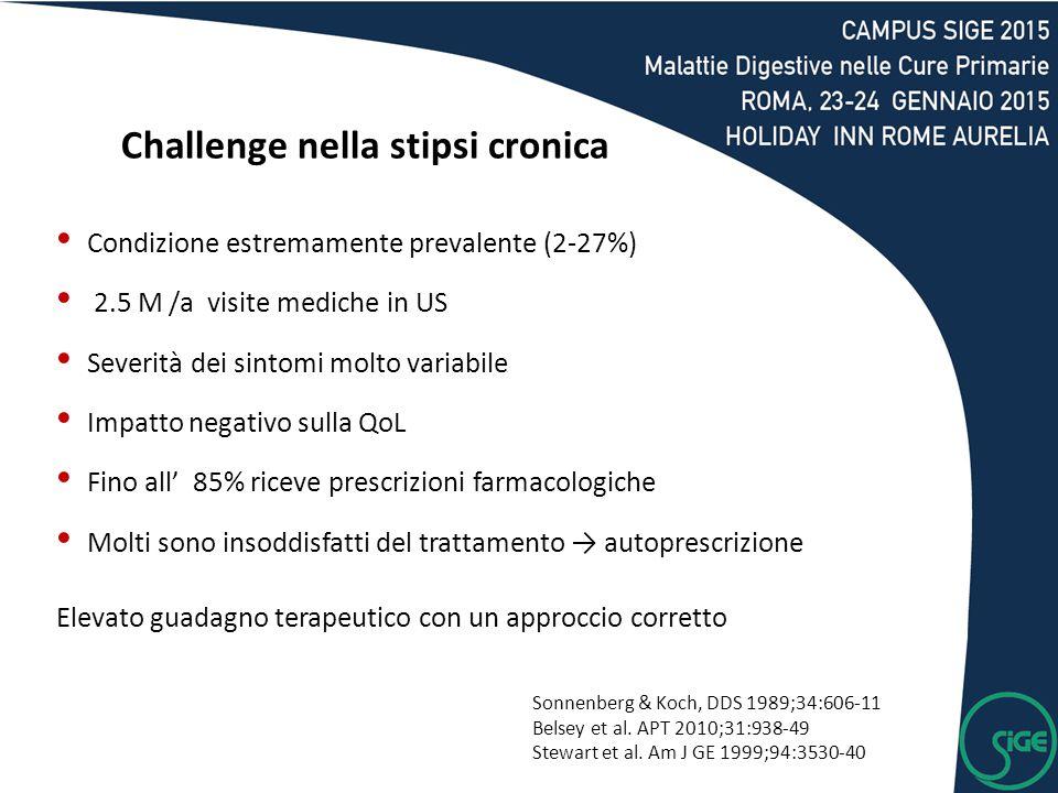 Challenge nella stipsi cronica Condizione estremamente prevalente (2-27%) 2.5 M /a visite mediche in US Severità dei sintomi molto variabile Impatto n