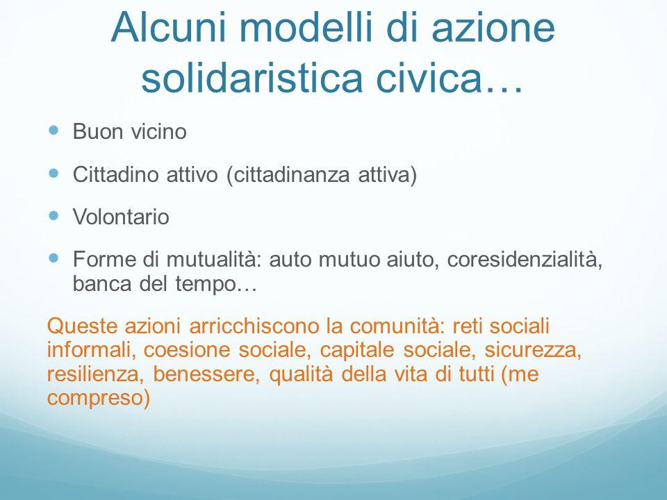 Alcuni modelli di azione solidaristica civica… Buon vicino Cittadino attivo (cittadinanza attiva) Volontario Forme di mutualità: auto mutuo aiuto, cor