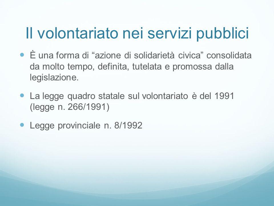 """Il volontariato nei servizi pubblici È una forma di """"azione di solidarietà civica"""" consolidata da molto tempo, definita, tutelata e promossa dalla leg"""