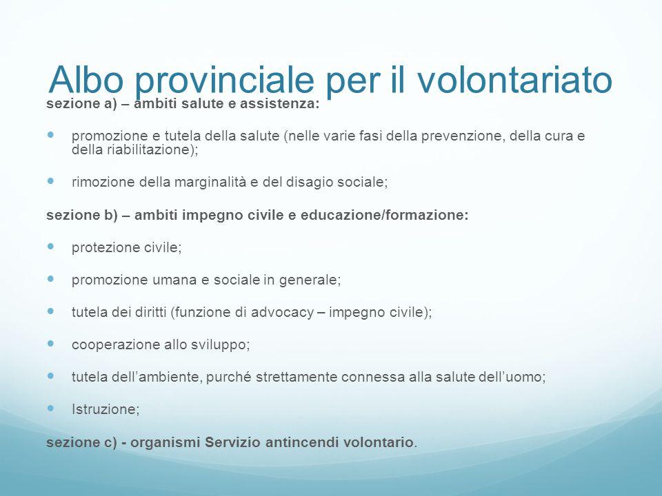 Albo provinciale per il volontariato sezione a) – ambiti salute e assistenza: promozione e tutela della salute (nelle varie fasi della prevenzione, de