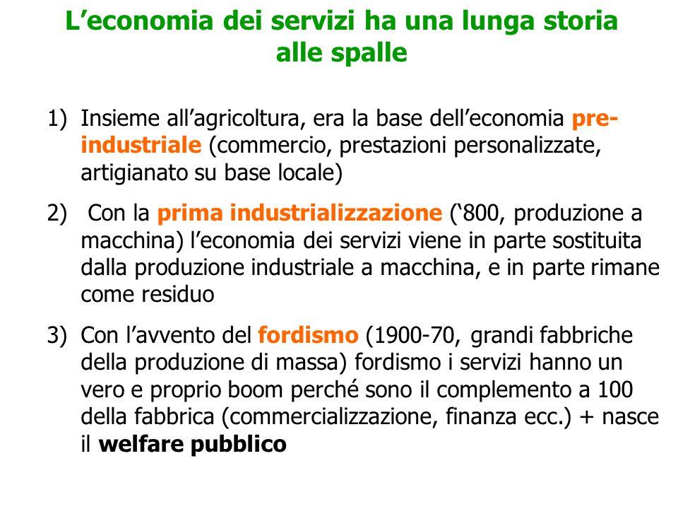 L'economia dei servizi ha una lunga storia alle spalle 1)Insieme all'agricoltura, era la base dell'economia pre- industriale (commercio, prestazioni personalizzate, artigianato su base locale) 2) Con la prima industrializzazione ('800, produzione a macchina) l'economia dei servizi viene in parte sostituita dalla produzione industriale a macchina, e in parte rimane come residuo 3)Con l'avvento del fordismo (1900-70, grandi fabbriche della produzione di massa) fordismo i servizi hanno un vero e proprio boom perché sono il complemento a 100 della fabbrica (commercializzazione, finanza ecc.) + nasce il welfare pubblico
