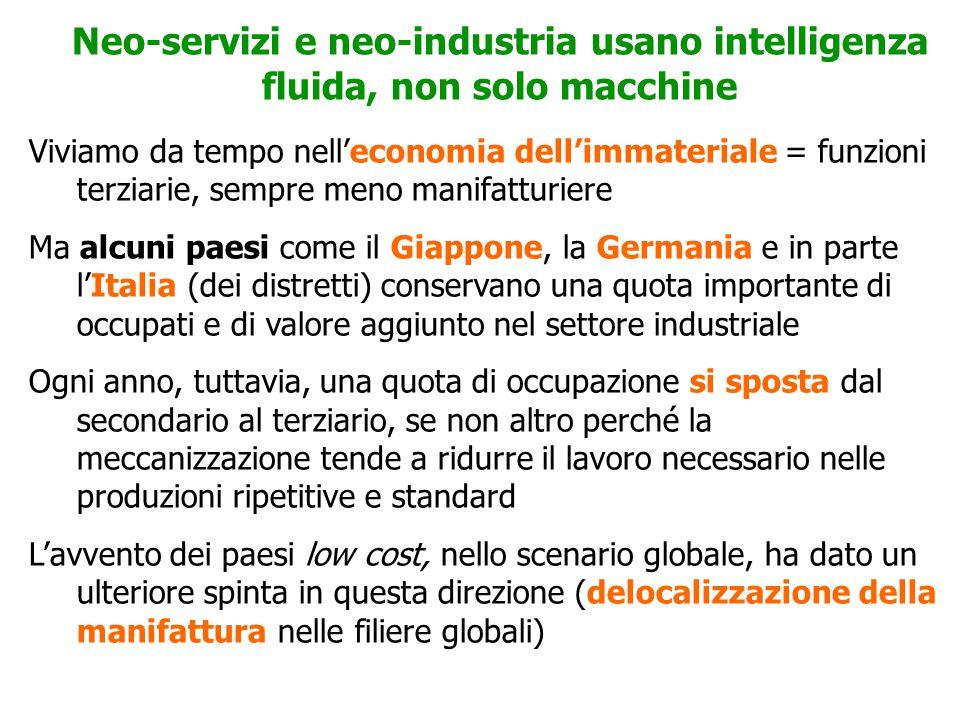 La sfida del prossimo futuro: aumentare la produttività nell'economia dei servizi Lo sviluppo del futuro dipende da una sfida di tipo nuovo: aumentare la produttività dei servizi In passato la crescita della produttività è passata per la tecnologia (macchine) e per le economie di scala (produzione di massa), lasciando da parte i servizi, salvo qualche eccezione (come la GDO) Ma oggi la crescita della produttività passa per altre vie, che interessano più direttamente il terziario: QUALITA', SIGNIFICATO, IDEE MOTRICI, CO-CREAZIONE DEL VALORE CON GLI USERS TUTTAVIA,I SERVIZI PUBBLICI (O DI WELFARE FINANZIATO DAL PUBBLICO) HANNO ANCORA UNA IMPOSTAZIONE FORDISTA E LA LORO RAZIONALIZZAZIONE OGGI TENDE A RAZIONALIZZARE, NON A CAMBIARE MODELLO (VOLUMI, STANDARD, COMANDO DALL'ALTO, PROCEDURE E IMPERSONALITA')
